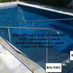 rampa para piscina em aço inoxidável